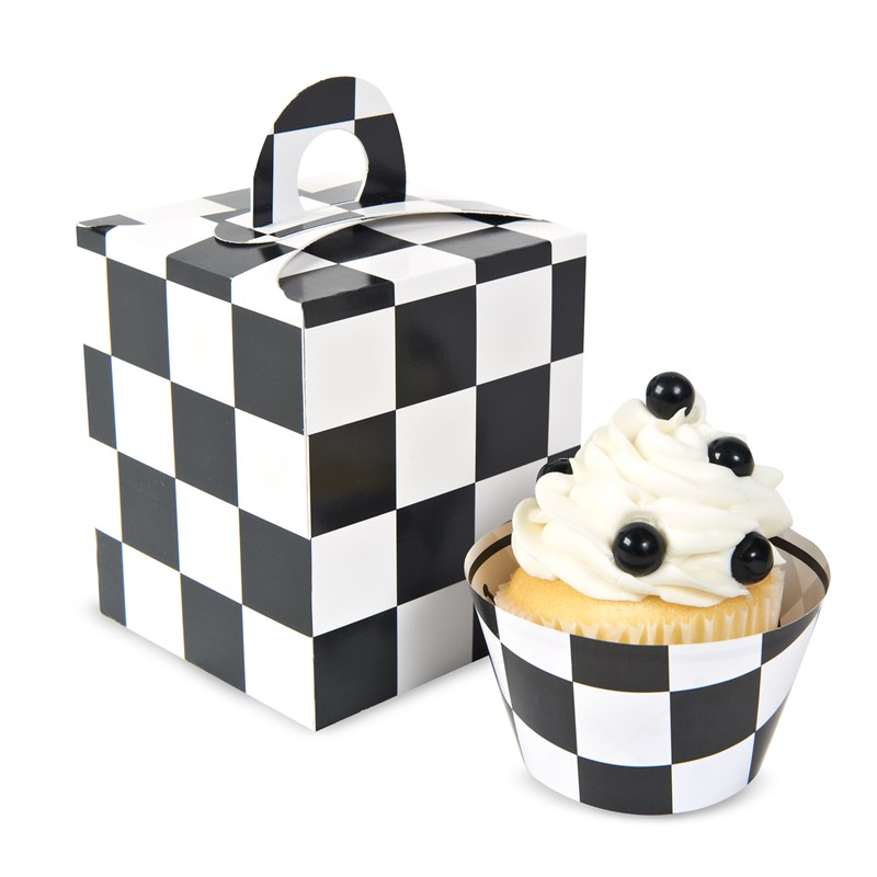 Black White Checked Cupcake Boxes (4 count) for the 2015 Costume season.