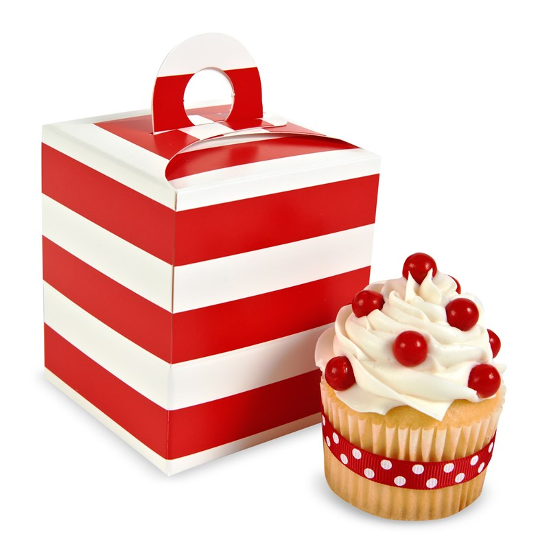 Red White Striped Cupcake Boxes (4 count) for the 2015 Costume season.