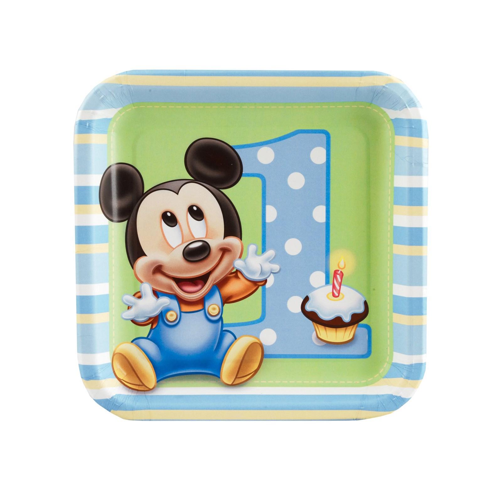 Disney Mickeys 1st Birthday Square Dessert Plates 8 count