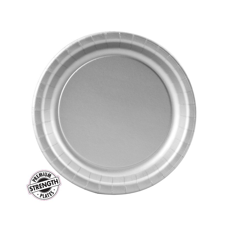 Shimmering Silver (Silver) Paper Dessert Plates (24 count) for the 2015 Costume season.