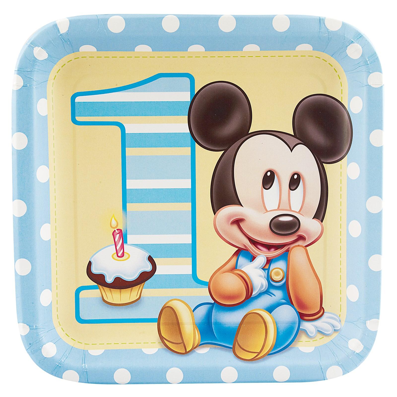 Disney Mickeys 1st Birthday Square Dinner Plates 8 count