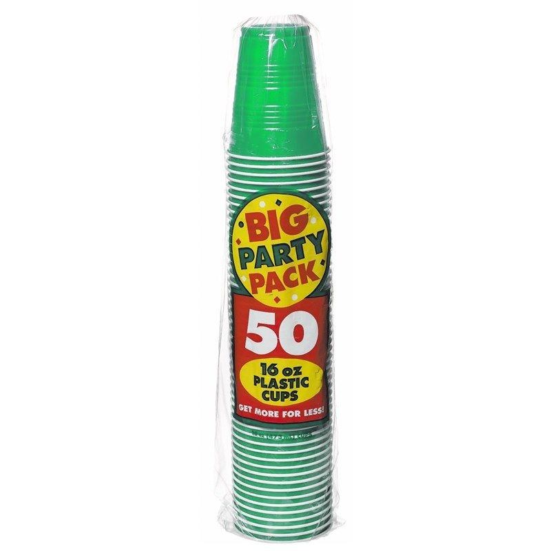 Festive Green Big Party Pack   16 oz. Plastic Cups (50) for the 2015 Costume season.