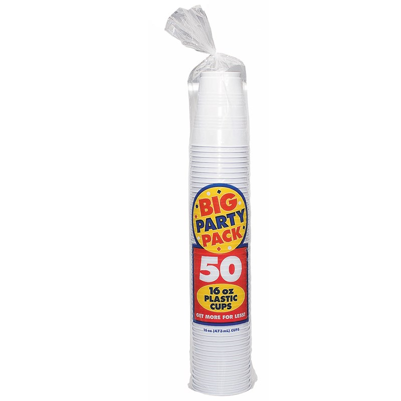 Frosty White Big Party Pack   16 oz. Plastic Cups (50 count) for the 2015 Costume season.