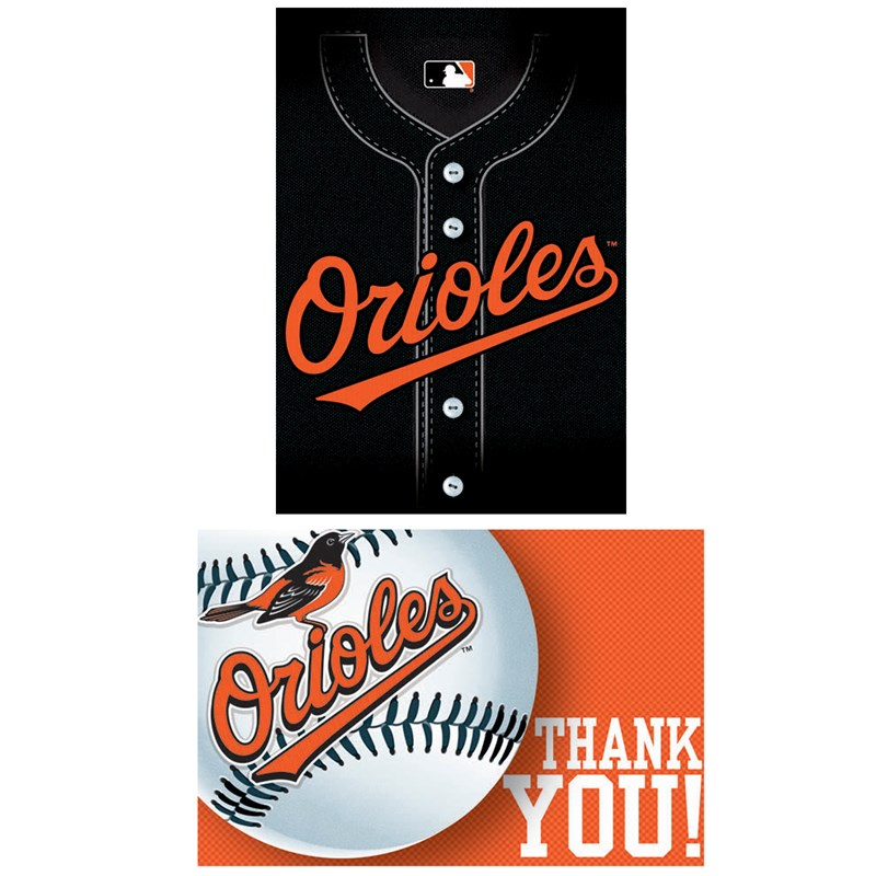 Baltimore Orioles Baseball   Invitation and Thank You Combo (8 each) for the 2015 Costume season.