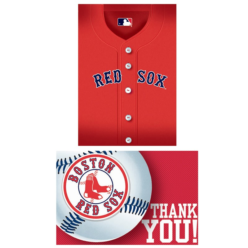 Boston Red Sox Baseball   Invitation and Thank You Combo (8 each) for the 2015 Costume season.