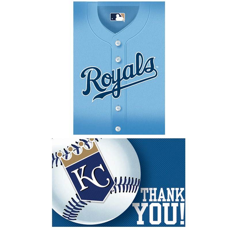 Kansas City Royals Baseball   Invitation and Thank You Combo (8 each) for the 2015 Costume season.