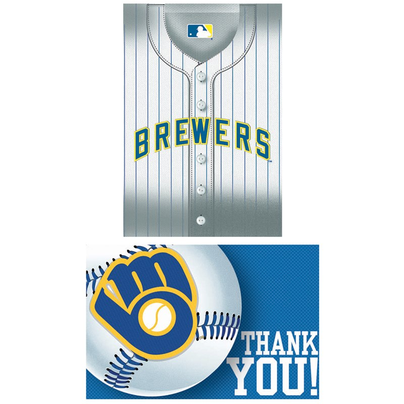 Milwaukee Brewers Baseball   Invitation and Thank You Combo (8 each) for the 2015 Costume season.