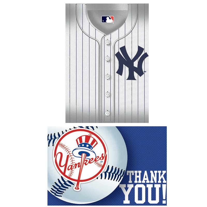 New York Yankees Baseball   Invitation and Thank You Combo (8 each) for the 2015 Costume season.