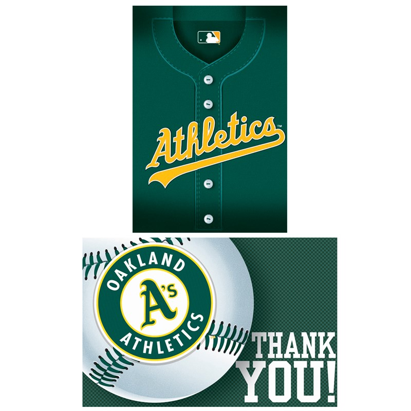 Oakland Athletics Baseball   Invitation and Thank You Combo (8 each) for the 2015 Costume season.