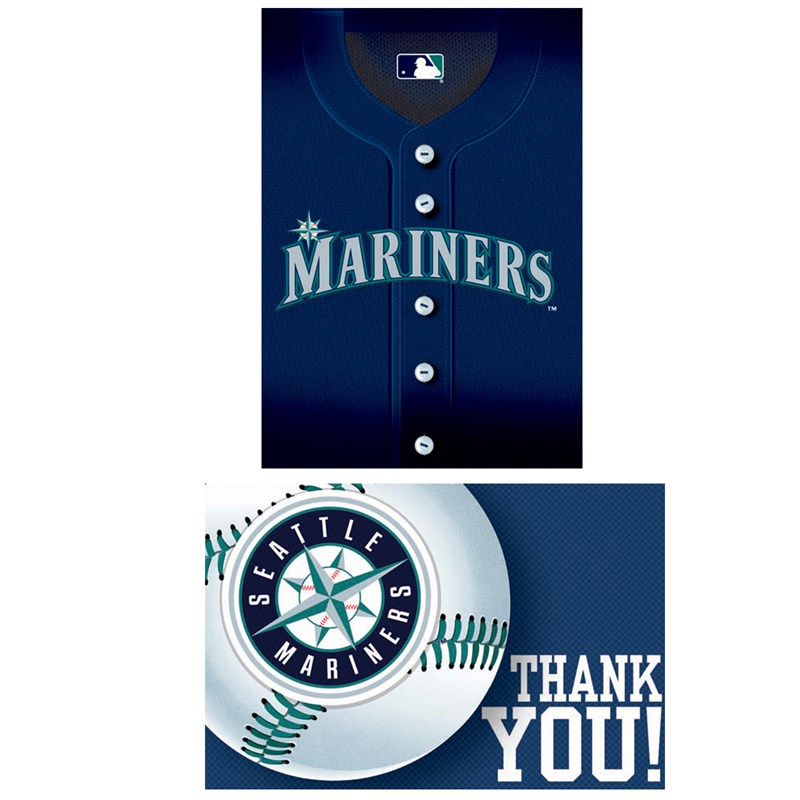 Seattle Mariners Baseball   Invitation and Thank You Combo (8 each) for the 2015 Costume season.
