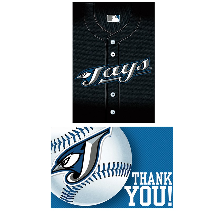 Toronto Blue Jays Baseball   Invitation and Thank You Combo (8 each) for the 2015 Costume season.