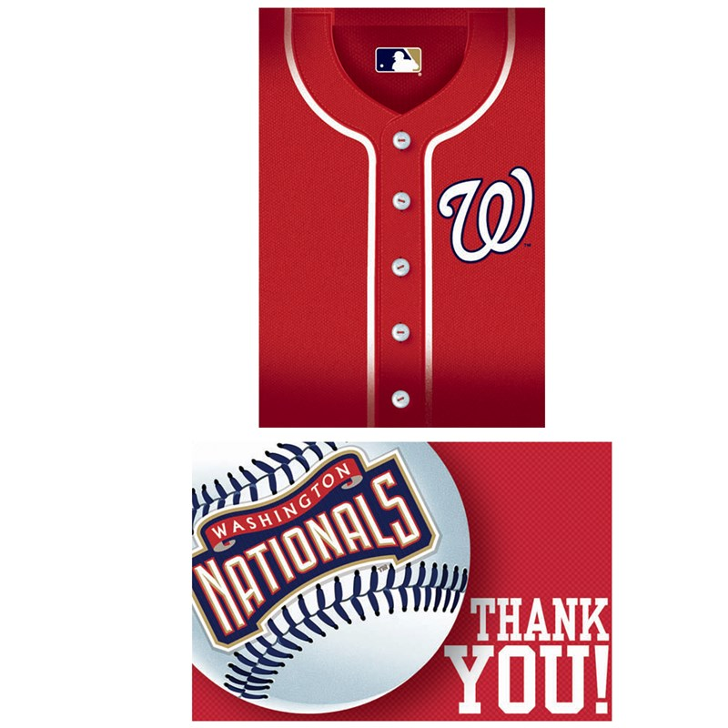 Washington Nationals Baseball   Invitation and Thank You Combo (8 each) for the 2015 Costume season.