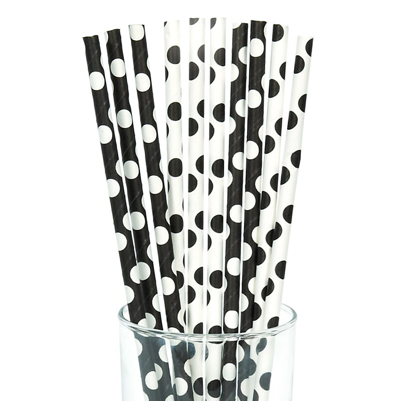 Black and White Dots Straws (10) for the 2015 Costume season.