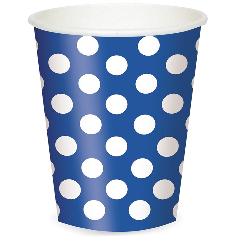 Blue and White Dots 12 oz. Cups (6) for the 2015 Costume season.