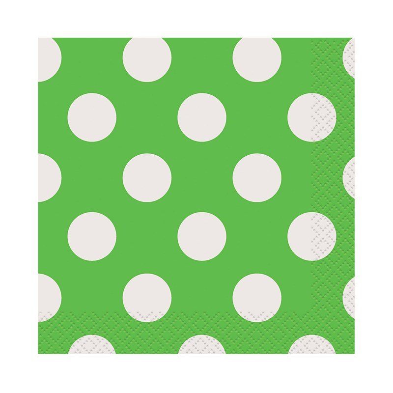 Green and White Dots Beverage Napkins (16) for the 2015 Costume season.