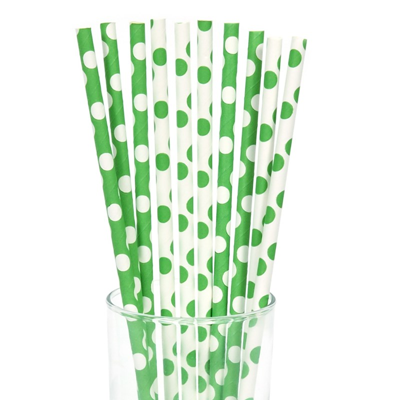 Green and White Dot Straws (10) for the 2015 Costume season.