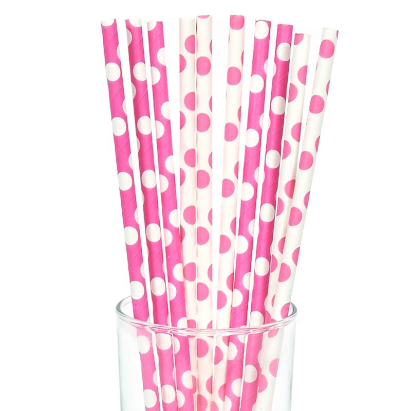 Pink and White Dot Straws (10) for the 2015 Costume season.