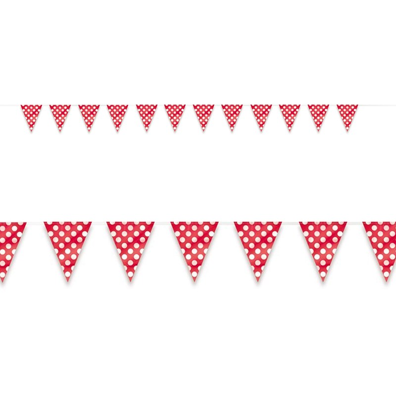 Red and White Dot Flag Banner for the 2015 Costume season.