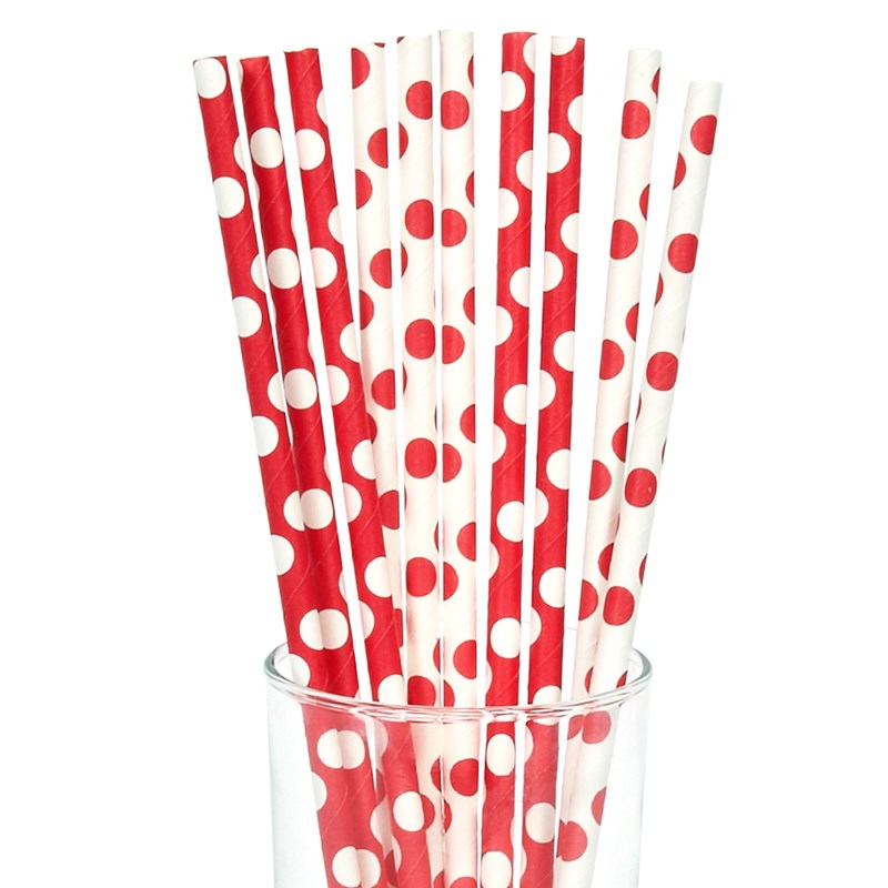 Red and White Dot Straws (10) for the 2015 Costume season.