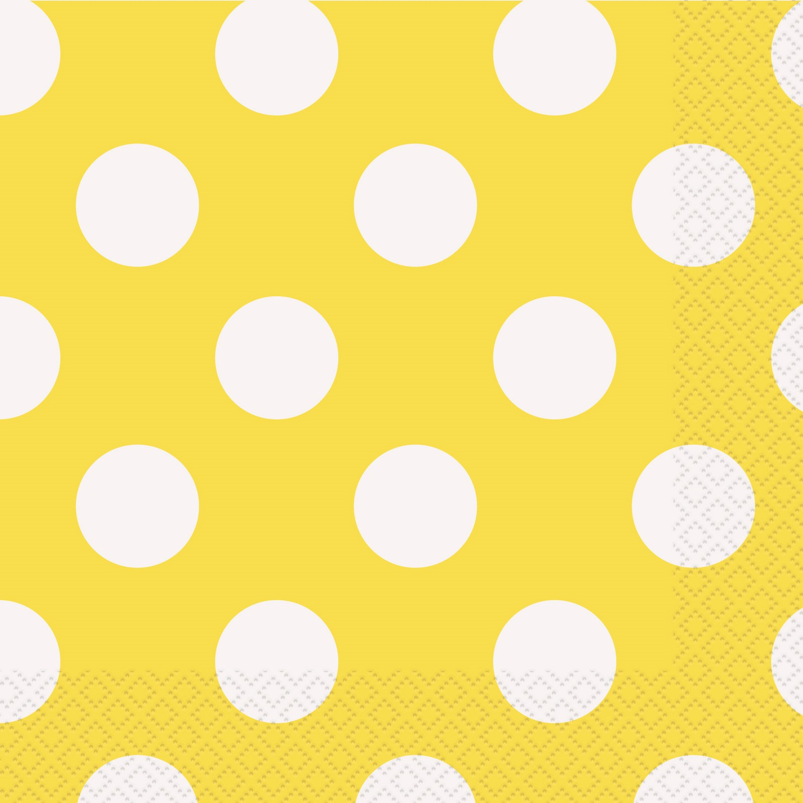 Image of Yellow and White Dots Lunch Napkins (16)