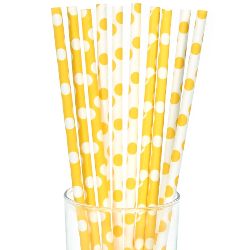 Yellow and White Dot Straws (10) for the 2015 Costume season.