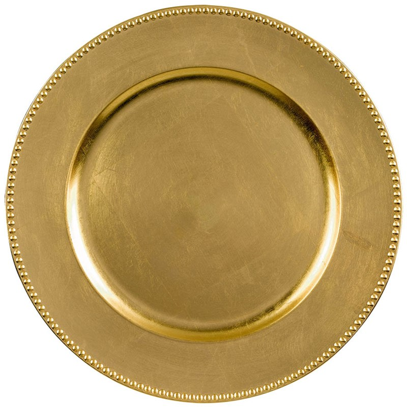 Round Metallic Charger   Gold for the 2015 Costume season.