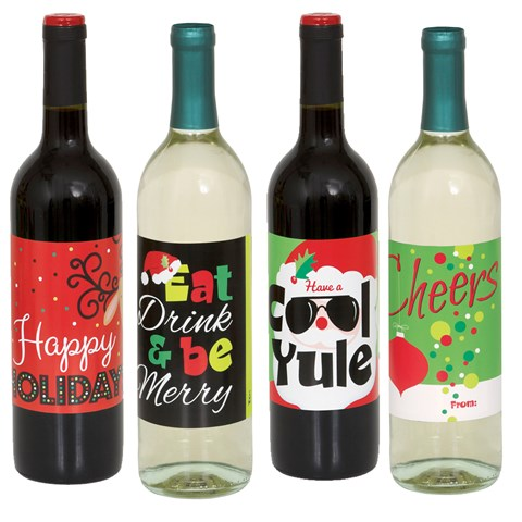 Christmas Wine Bottle Labels (4 count)