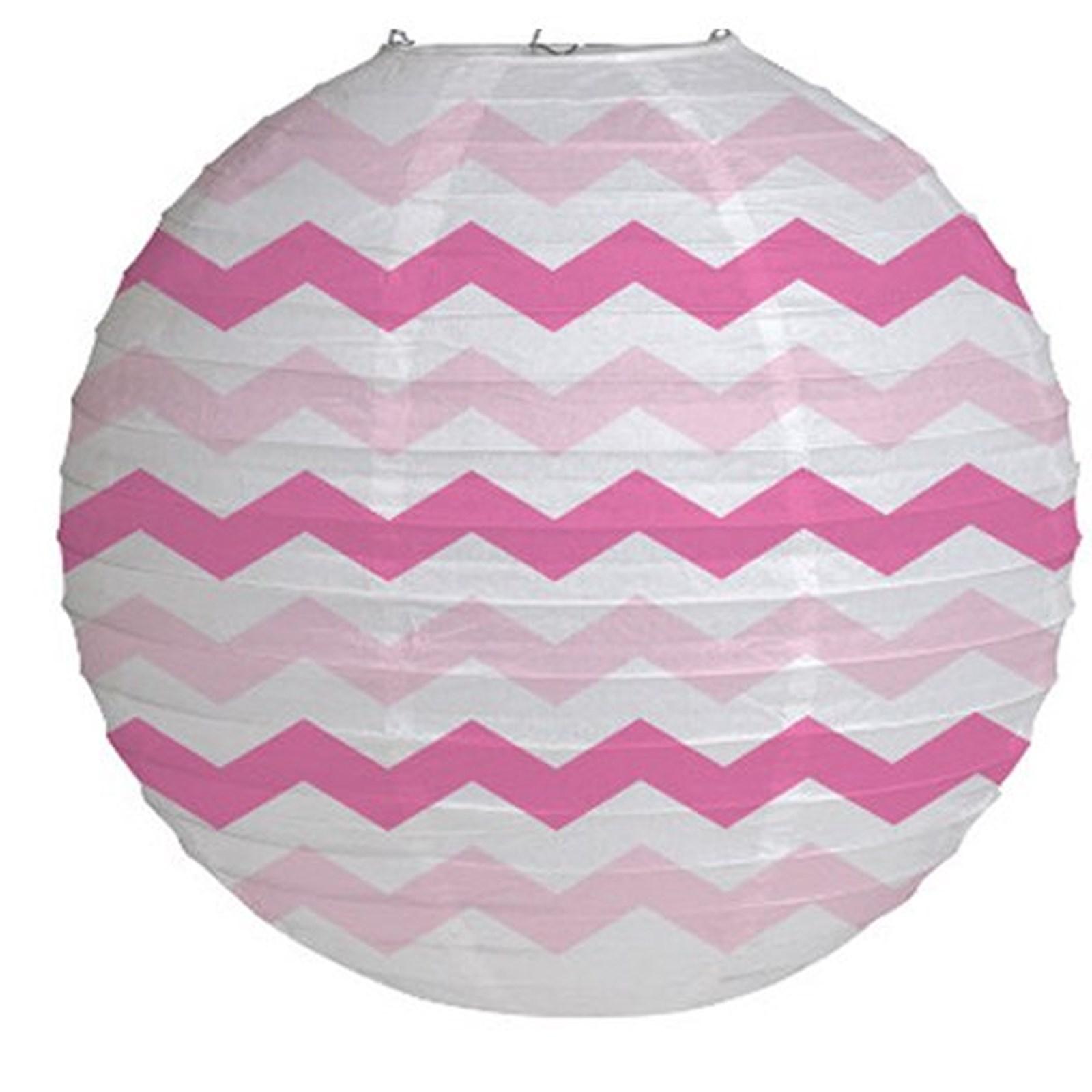 "Image of 12"" Round Paper Chevron Lantern - Candy Pink"