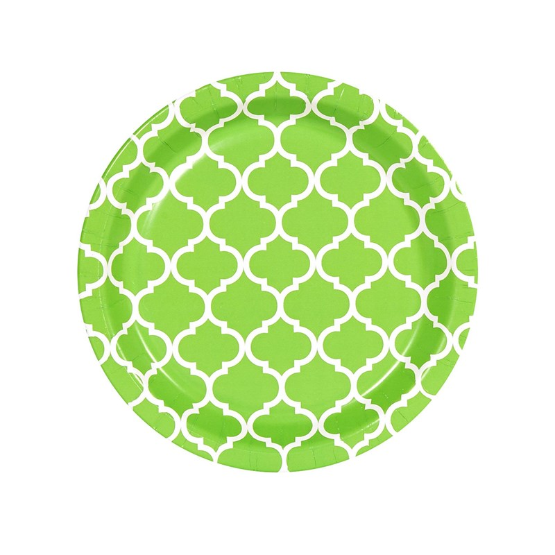 Fresh Lime Quatrefoil Dessert Plates (8) for the 2015 Costume season.