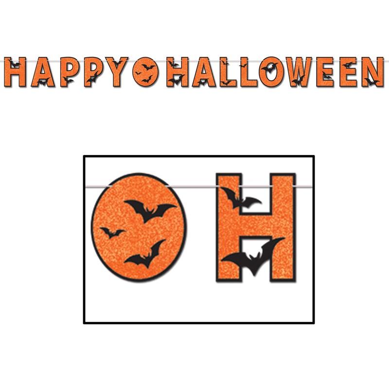 Glittered Happy Halloween Streamer for the 2015 Costume season.