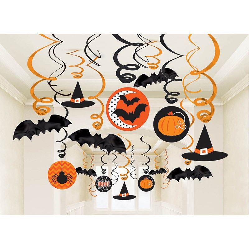 Halloween Value Pack Ceiling Swirl Foil Decorations for the 2015 Costume season.