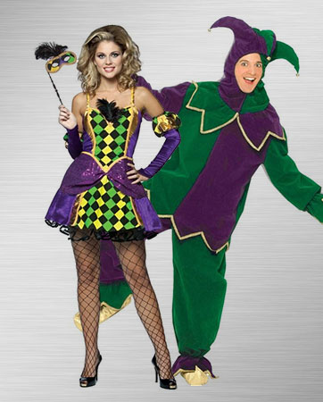 Mardi Gras Queen & Jester costumes