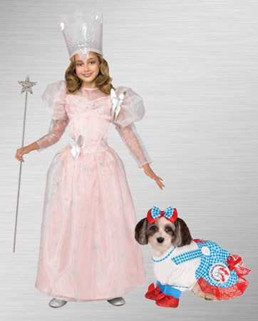 Girls Glinda & Dorothy Dog Costumes