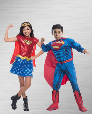 Boy Superman & Girl Wonder Woman costumes