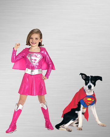 Kids Supergirl & Superman Dog Costume