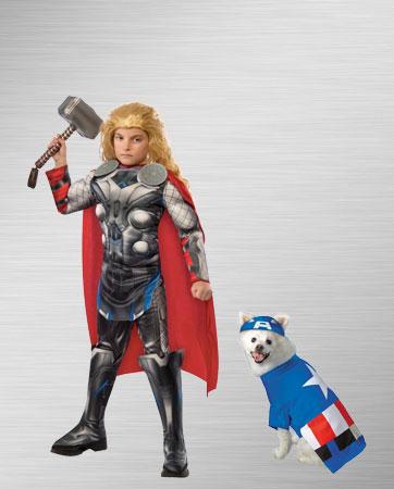 Thor & Captain America Dog Costume