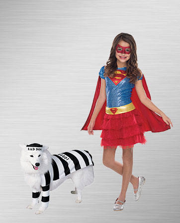 Child Supergirl & Prisoner Dog Costume