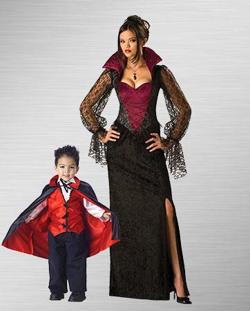 Gothic Vampira & Toddler Vampire costumes