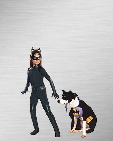 Girls Catwoman & Bat Dog