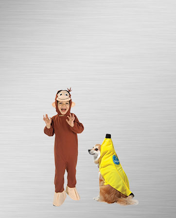 Kid monkey and banana dog