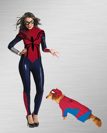 Spider Girl and Spider-Man Dog  Costume