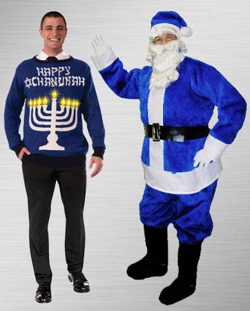 Chanukah Sweater and Blue Santa Home