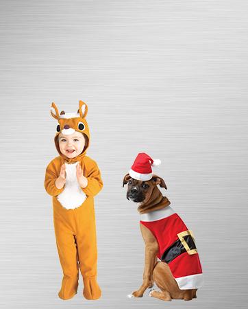 Santa Dog & Infant Reindeer