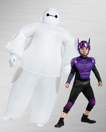 White Baymax Adult & Hiro Child