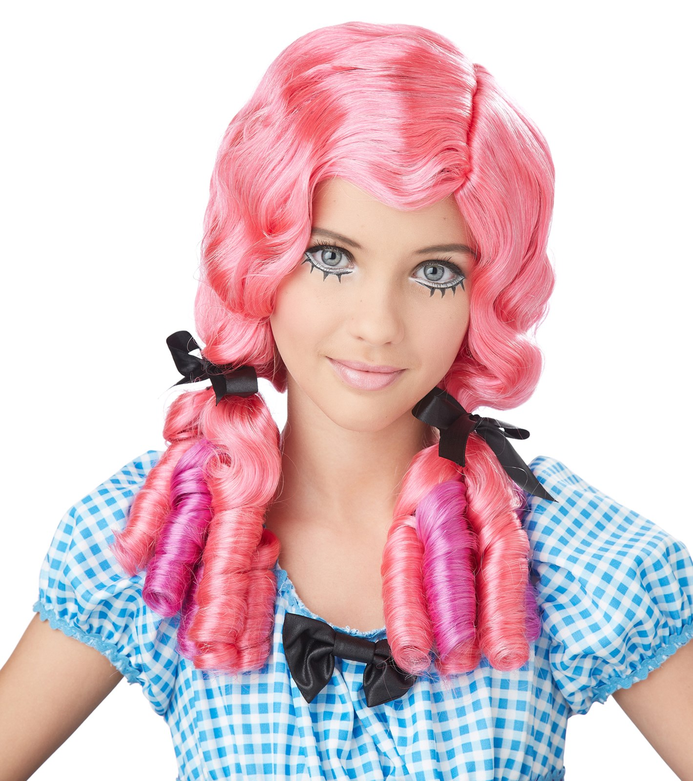 Adult Doll Curls Wig - Coral/Magenta