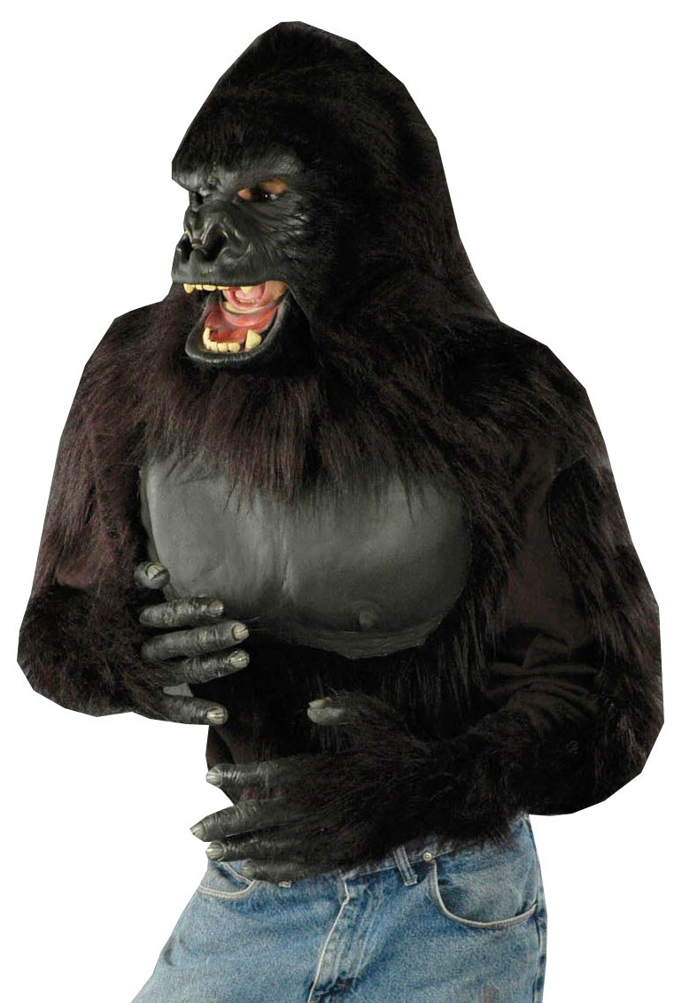 This Gorilla Costume makes you top banana at the bash, the primate most likely to make a positive impression. Adult Gorilla Guy Costume features a full body jumpsuit coated with thick black faux fur and equipped with a zipper in back.