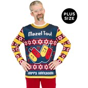 Adult Plus Size Mazel Tov Ugly Hanukkah Sweater