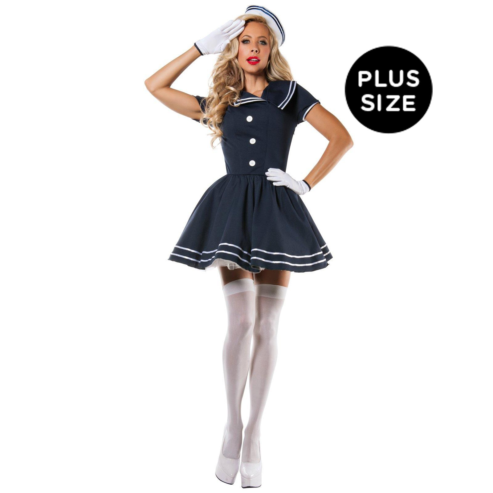 Adult Plus Size Pin Up Captain Costume