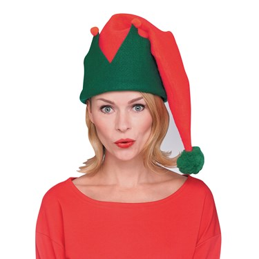 Adult Red And Green Long Elf Hat