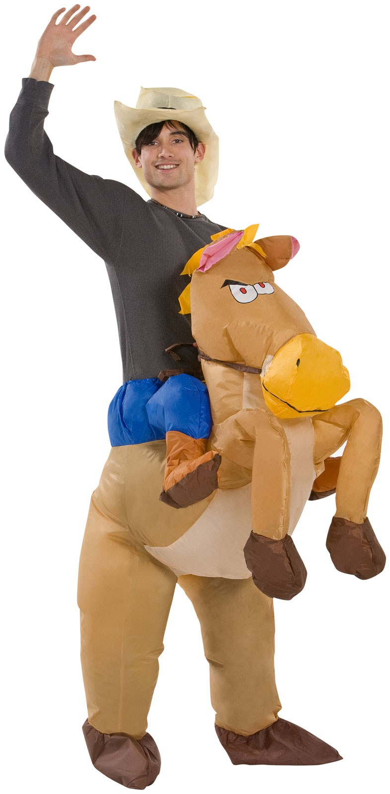 Adult Riding on Horse Illusion Inflatable Costume